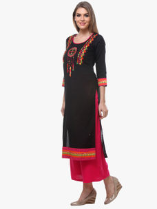 Varanga Black Cotton Printed Kurta