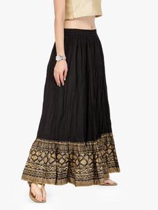 Varanga Black Pure Cotton Gold  kirts