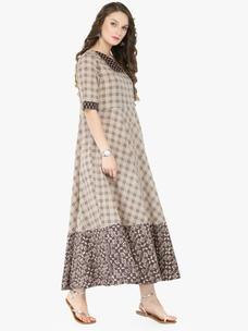 Varanga Grey Cotton Printed Dresses