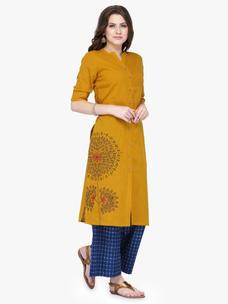 Varanga Mustard Cotton Blend Embroidery Kurta With Palazzo