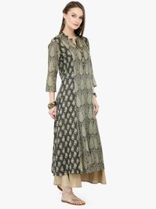 Varanga Khaki Viscose Rayon Embroidery Kurta With Palazzo