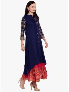 Varanga Navy Blue Viscose Gold Print Kurta With Skirt
