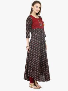 Varanga Brown Cotton Printed Dresses