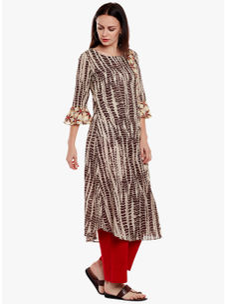 Varanga Brown Pure Cotton Embroidery Kurta With Pants