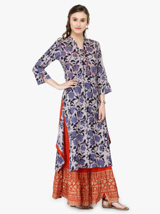 Varanga Blue Viscose Rayon Printed Kurta With Skirt