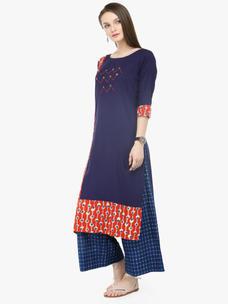 Varanga Blue Viscose Rayon Embroidery Kurta With Palazzo