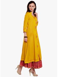 Varanga Mustard Viscose Embroidery Kurta With Skirt
