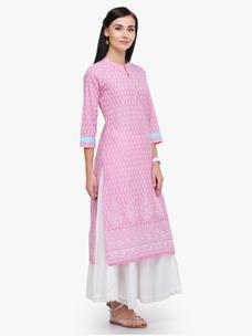 Varanga Pink Printed Cotton Mandarin Collar 3/4 Sleeves Straight Kurta