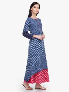 Varanga Blue Printed Rayon Boat Neck 3/4 Sleeves Straight Kurta