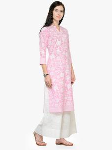 Varanga Pink Printed 3/4 Sleeves Straight Kurta