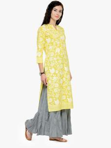 Varanga Yellow Printed 3/4 Sleeves Straight Kurta