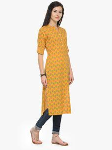 Varanga Mustard Printed 3/4 Sleeves Straight Kurta
