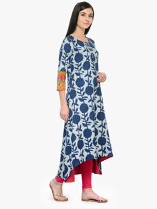 Varanga Indigo Printed 3/4 Sleeves High Low Kurta