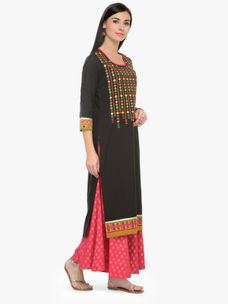Varanga Black Embroidery Round Neck 3/4 Sleeves Straight Kurta