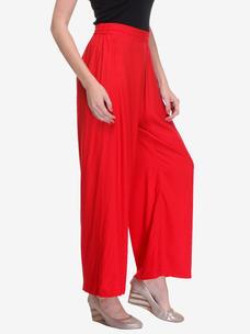 Varanga Red Rayon Solid/Plain Palazzo