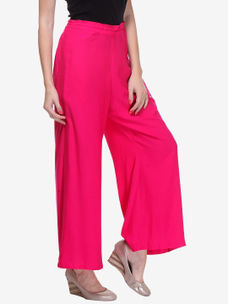 Varanga Pink Cotton Solid/Plain Palazzo
