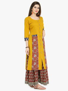 Varanga Mustard Textured Cotton Printed Kurta