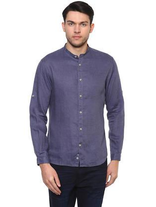100% Linen Mao Collar Grey Shirt