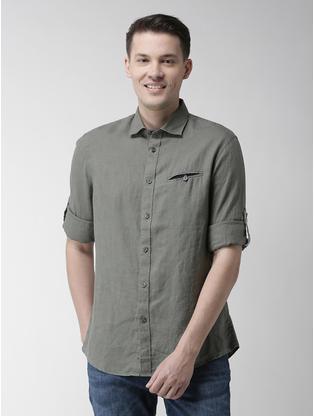 100% Linen Olive Shirt