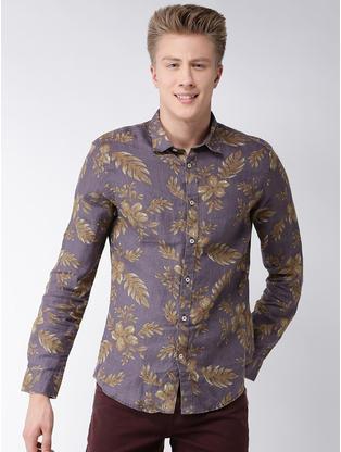 100% Linen Slim Fit Brown Shirt
