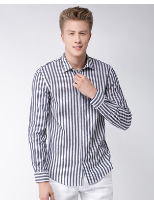Black and White Striped Casual Shirt