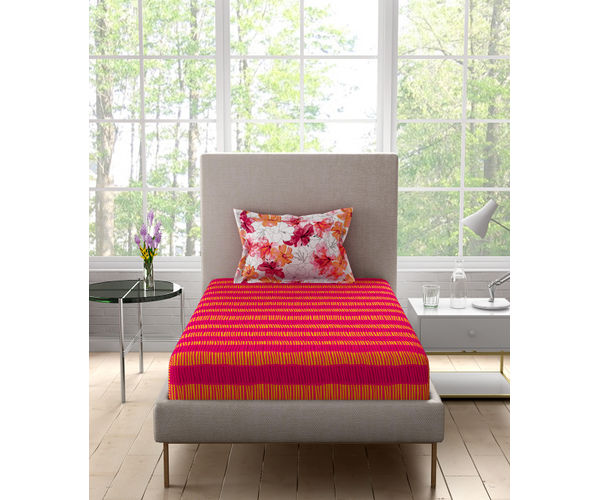 Stellar Home Iris Collection - Abstract Red & Orange Lined Print Bedsheet With 1 Pillow Cover (100% Cotton, Single Size)