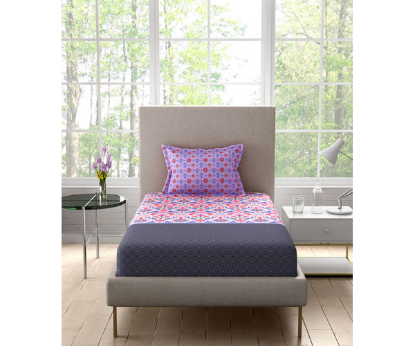 Stellar Home Iris Collection - Colourful Motif Print Bedsheet With 1 Pillow Cover (100% Cotton, Single Size)