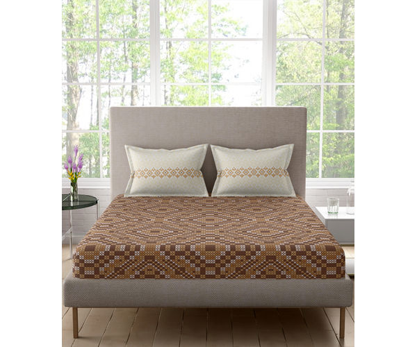 Stellar Home Iris Collection - Geometric Brown Hued Criss-Cross Pattern Bedsheet With 2 Pillow Covers (100% Cotton, Queen Size)