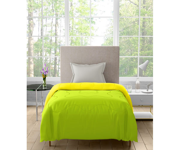Stellar Home Blockbuster Collection - Green Glow & Lemon Yellow Reversible Single Size Comforter (Super Soft Micro)