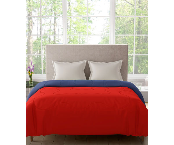 Stellar Home Blockbuster Collection - Poppy Red & Palace Blue Reversible Queen Size Comforter (Super Soft Micro)