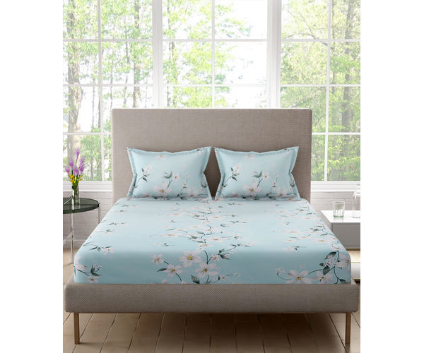 Stellar Home Bloomsbury Collection - Light Blue Delicate Floral Print Double Size Bedsheet With 2 Pillow Covers (Polyester Brushed Fabric)
