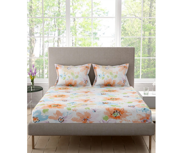 Stellar Home Bloomsbury Collection - Watercolour Floral Print Double Size Bedsheet With 2 Pillow Covers (Polyester Brushed Fabric)