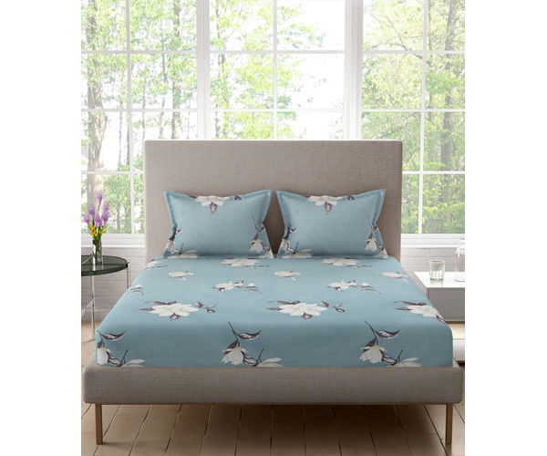 Stellar Home Bloomsbury Collection - Blue Flower Motif Print Double Size Bedsheet With 2 Pillow Covers (Polyester Brushed Fabric)