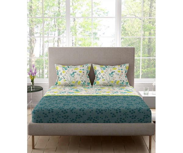 Stellar Home Blockbuster Collection - Blooming Floral Print Bedsheet With 2 Pillow Covers (100% Cotton, Queen Size)