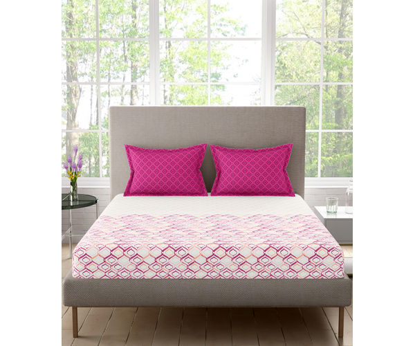 Stellar Home Blockbuster Collection - Purple & Pink Abstract Print Bedsheet With 2 Pillow Covers (100% Cotton, Queen Size)