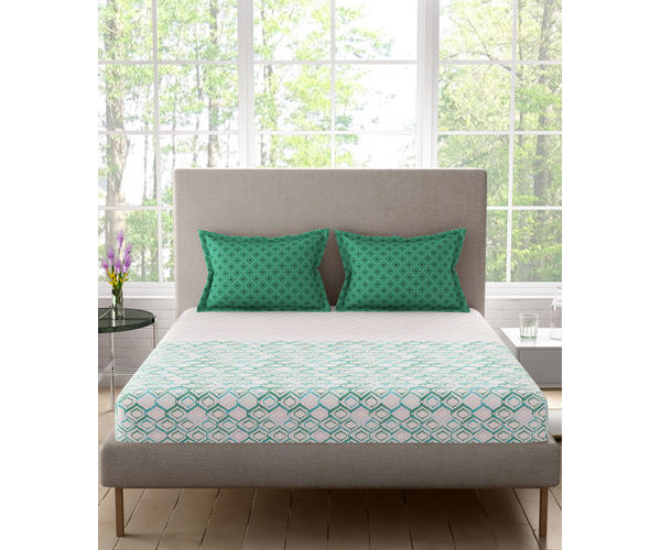 Stellar Home Blockbuster Collection - Green & Blue Abstract Print Bedsheet With 2 Pillow Covers (100% Cotton, Queen Size)
