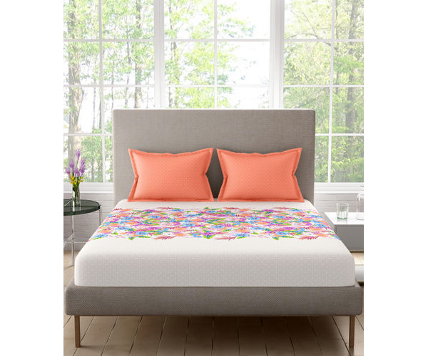 Stellar Home Blockbuster Collection - Multicoloured Garden Print Bedsheet With 2 Pillow Covers (100% Cotton, Queen Size)