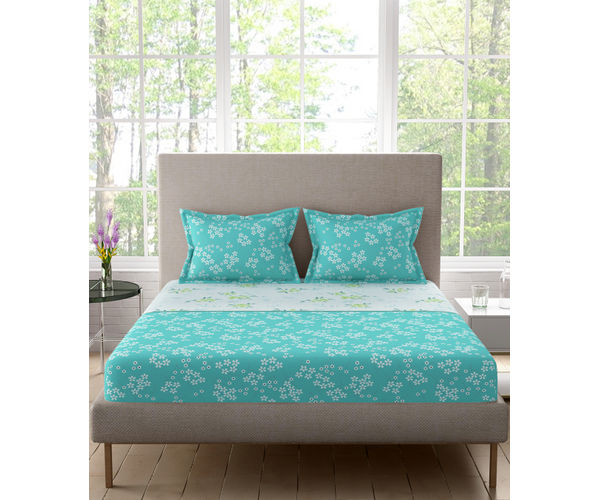 Stellar Home Blockbuster Collection - Sky Blue Ditsy Print Bedsheet With 2 Pillow Covers (100% Cotton, Queen Size)