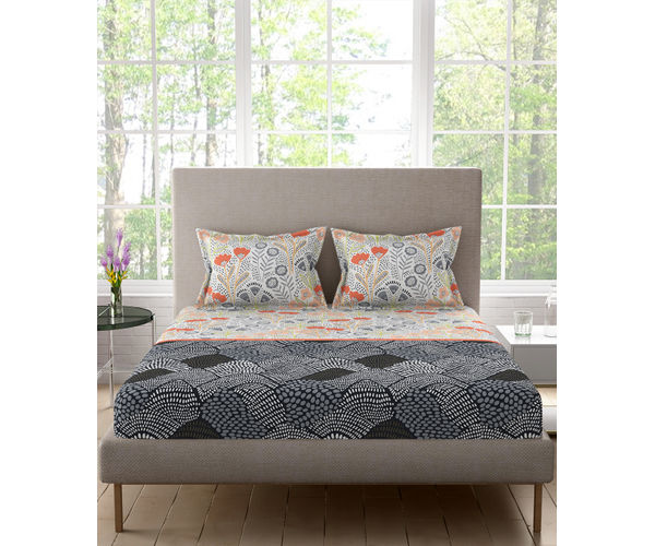 Stellar Home Blockbuster Collection - Black & Grey Boho Print Bedsheet With 2 Pillow Covers (100% Cotton, Queen Size)