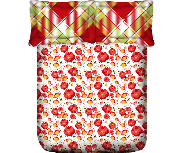 Stellar Home Blockbuster Collection - Red & Orange Floral Print Bedsheet With 2 Sack Pillow Covers (100% Cotton, Queen Size)