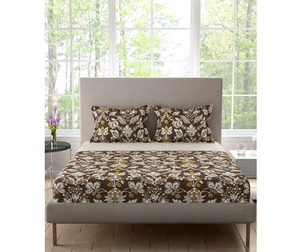 Stellar Home Lilly Plus Collection - Earthy Brown & White Floral Print Bedsheet With 2 Pillow Covers (100% Cotton, Super King Size)