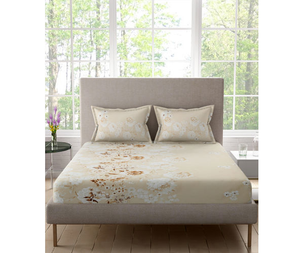 Stellar Home Bloomsbury Collection - Beige Muted Floral Print Double Size Bedsheet With 2 Pillow Covers (Polyester Brushed Fabric)