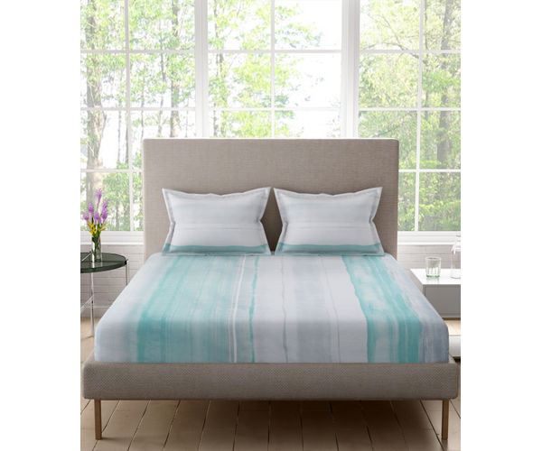 Stellar Home Bloomsbury Collection -Blue & Grey Watercolour Brush Print Double Size Bedsheet With 2 Pillow Covers (Polyester Brushed Fabric)