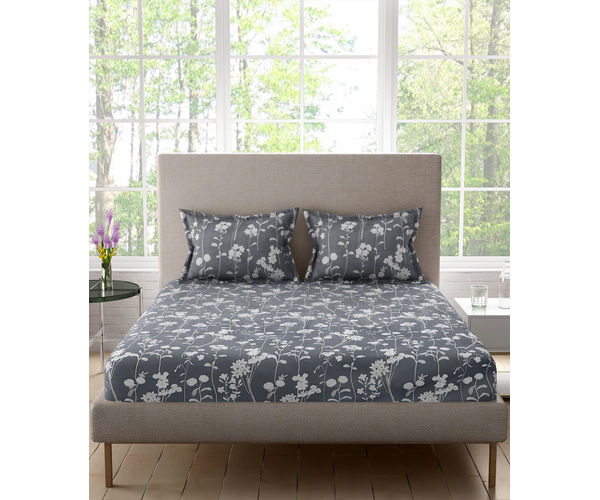 Stellar Home Nightangle Collection - Grey Botanical Print Super King Size Bedsheet With 2 Pillow Covers (Polyester Brushed Fabric)