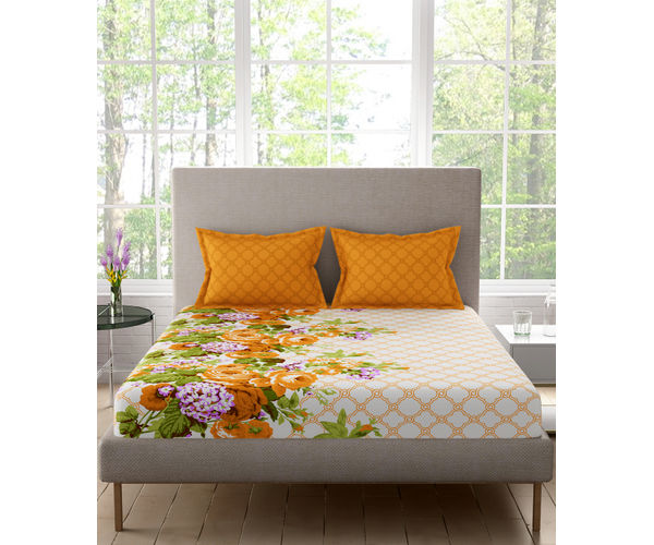 Stellar Home Estella Collection - Floral Autumn Hued Print Bedsheet With 2 Pillow Covers (100% Cotton, Queen Size)
