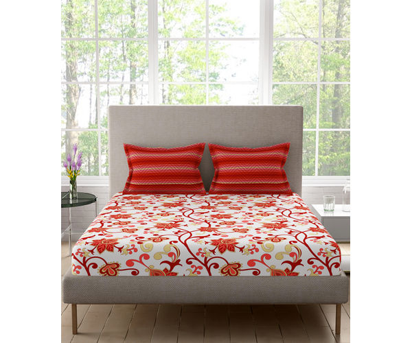 Stellar Home Estella Collection - Striking Red Floral Print Bedsheet With 2 Pillow Covers (100% Cotton, Queen Size)