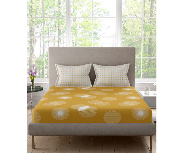 Stellar Home Estella Collection - Beige Geometric Circle Print Bedsheet With 2 Pillow Covers (100% Cotton, Queen Size)