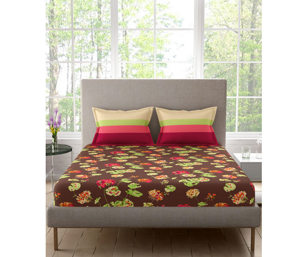 Stellar Home Estella Collection - Earthy Bright Floral Print Bedsheet With 2 Pillow Covers (100% Cotton, Queen Size)