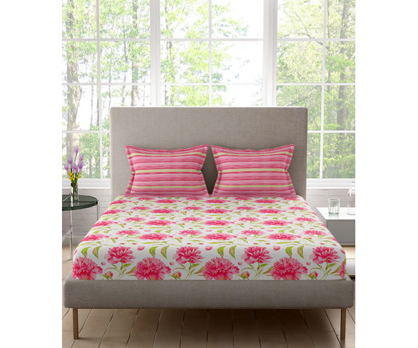 Stellar Home Estella Collection - Pretty & Pink Floral Print Bedsheet With 2 Pillow Covers (100% Cotton, King Size)