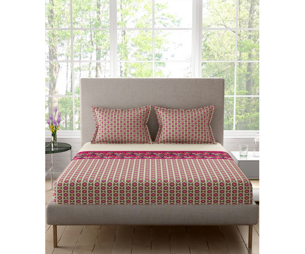 Stellar Home Lilly Plus Collection - Intricate Traditional Floral Print Bedsheet With 2 Pillow Covers (100% Cotton, Super King Size)